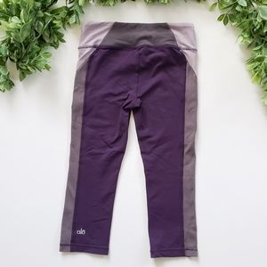 ALO Yoga Purple and Gray Cropped Leggings, XS